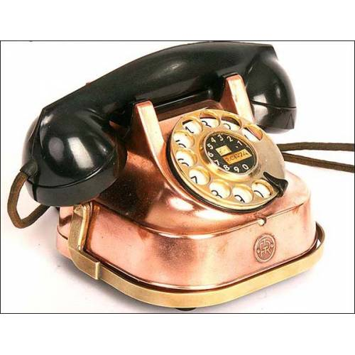Teléfono antiguo.Caja de cobre.Años 30. ¡FUNCIONANDO!