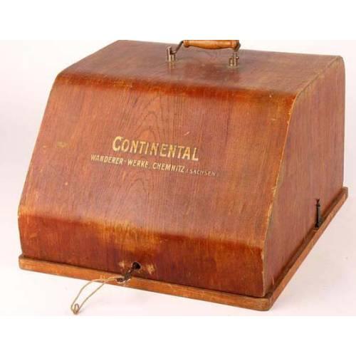 Antigua máquina de escribir Continental con cofre y llave. 1920