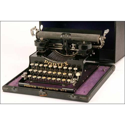 Magnífica máquina de escribir Portex nº 5. 1920