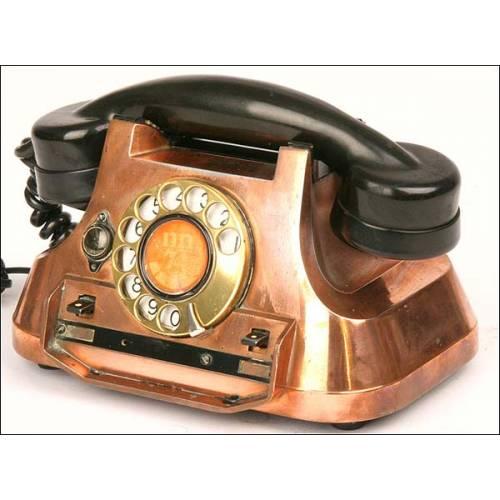 Teléfono centralita de cobre. Años 50. Perfecto funcionamiento