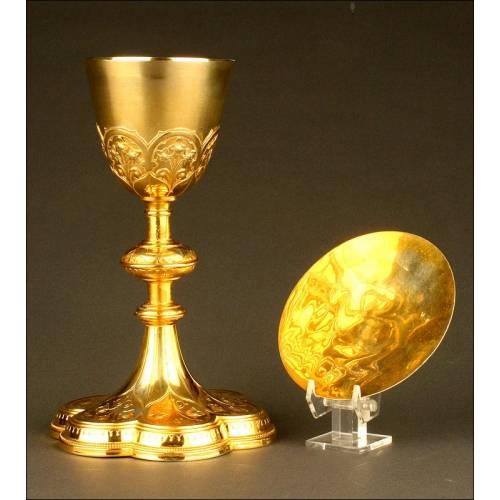 Magnífico Copón en Plata dorada con Patena, fabricado por el Maestro orfebre Louis Pilles a finales del siglo XIX.