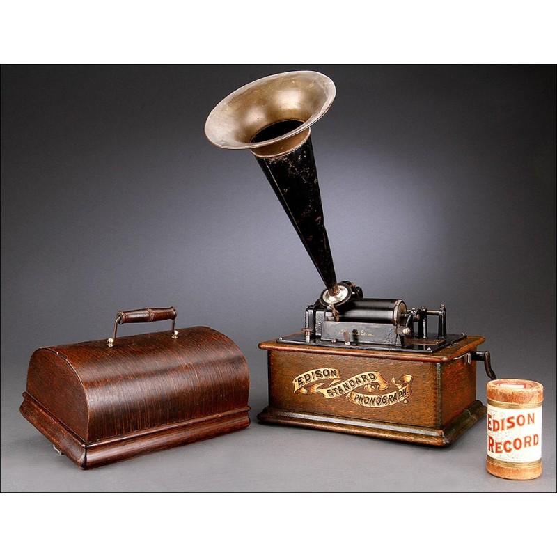 Antiguo Fonógrafo Antiguo Edison Standard en Perfecto Funcionamiento. EEUU, 1899