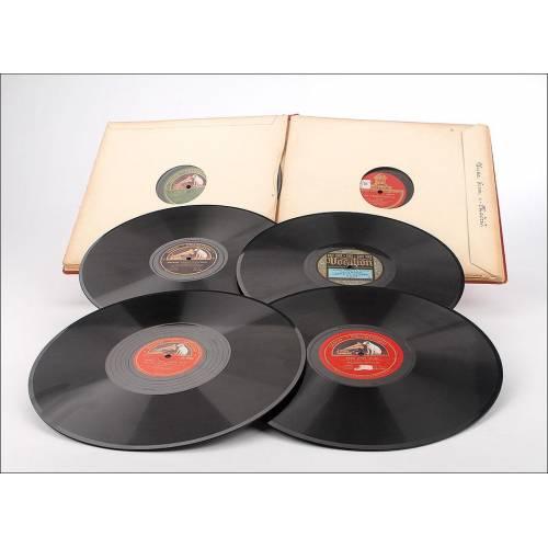 Album con 12 discos de gramófono españoles. 78 rpm. Música clásica y ópera. Album original.