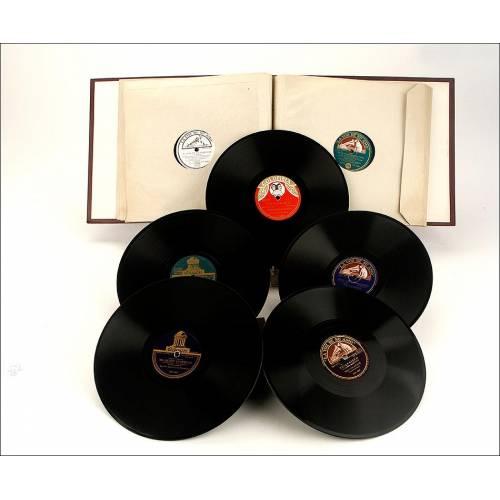 Album con 12 discos de gramófono españoles. 78 rpm. Canciones. Album original