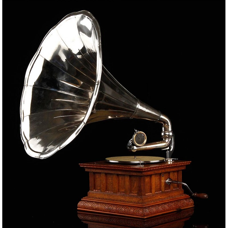 Elegante Gramófono Parlophon de Lujo en Excelente Estado. Alemania, 1915