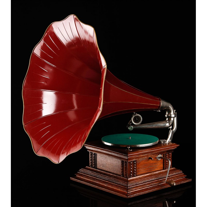 Impresionante Gramófono de Trompeta HMV Monarch. Edición de Lujo. Inglaterra, Circa 1915