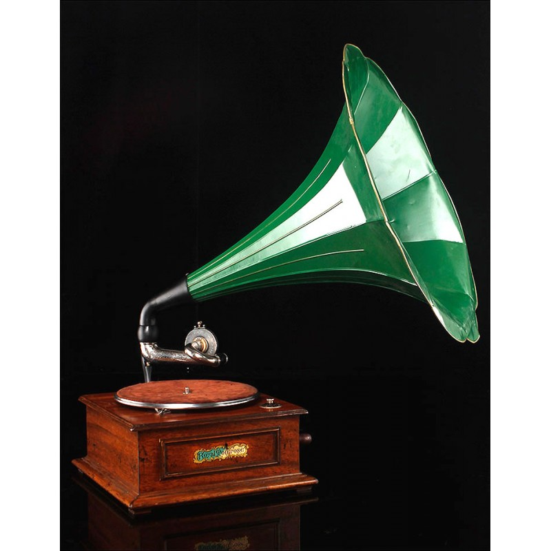 Magnífico Gramófono de Trompeta Royal Montrose en Perfecto Estado. Gran Bretaña, Ca. 1920
