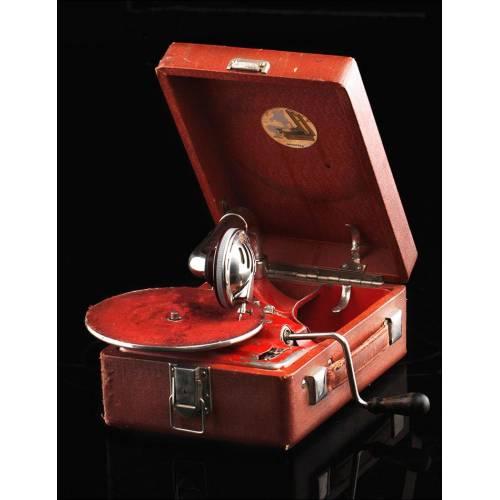 Gramófono de Maleta Original en Estado de Funcionamiento. URSS, Años 20