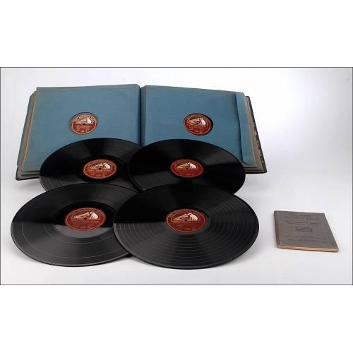 Curso de Francés para el mercado inglés en un álbum de 15 discos de gramófono