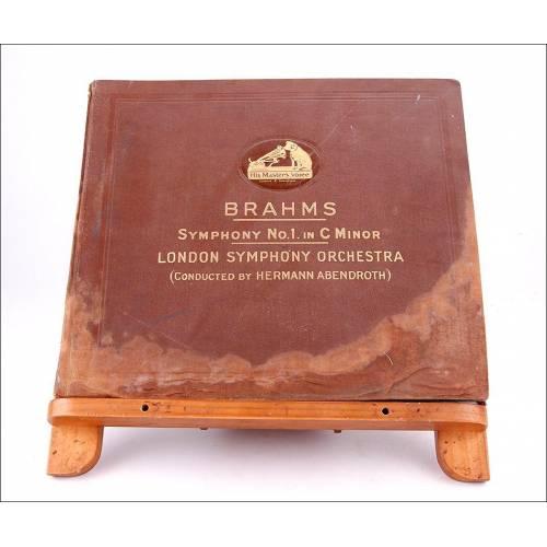 Album con 5 discos de gramófono. 78 rpm. Brahms. Sinfonía nº 1 en Do menor. Album original