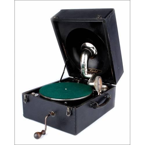 Antiguo Gramófono de Maleta Odeon Modelo Carlet. Alemania, 1920