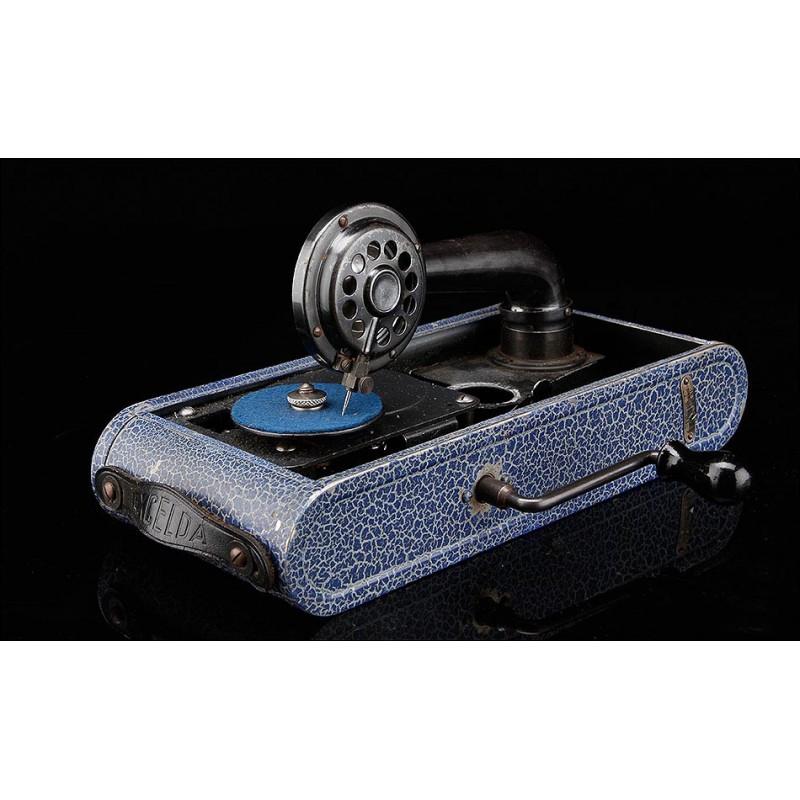 Gramófono Portátil Excelda Fabricado en los Años 30. Funcionando de Maravilla