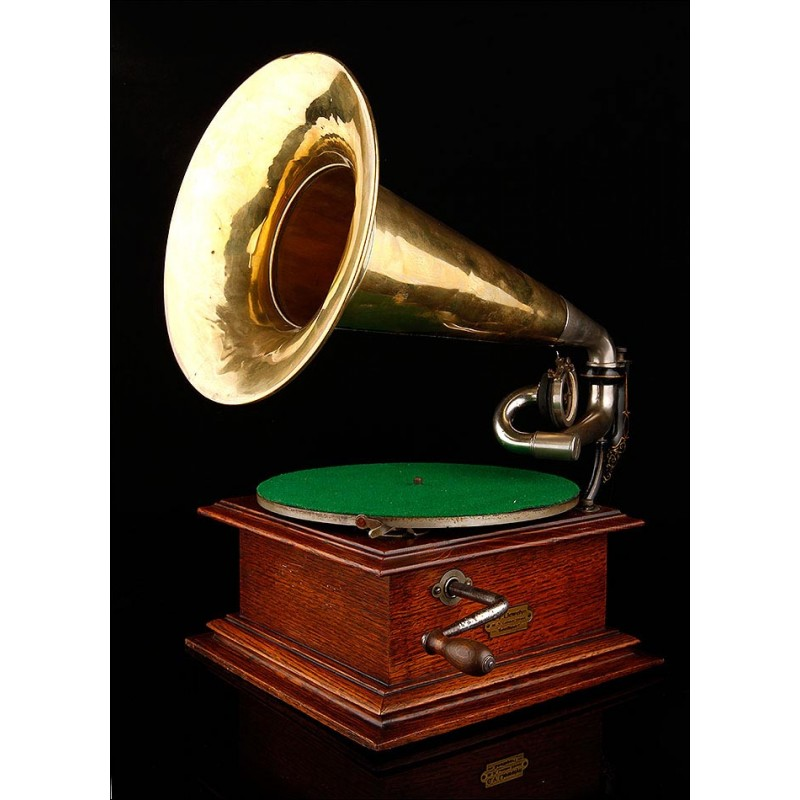 Impresionante Gramófono de Trompeta Victor (La Voz De Su Amo) del año 1905. Fabricado en EEUU. Funciona Muy Bien