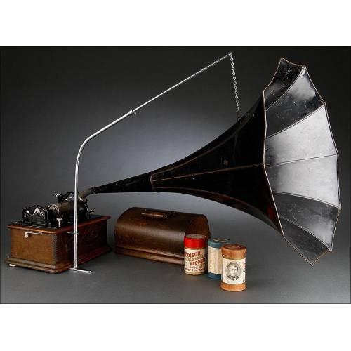 Magnífico Fonógrafo Edison Standard Original del Año 1900. En Funcionamiento y con Tres Cilindros