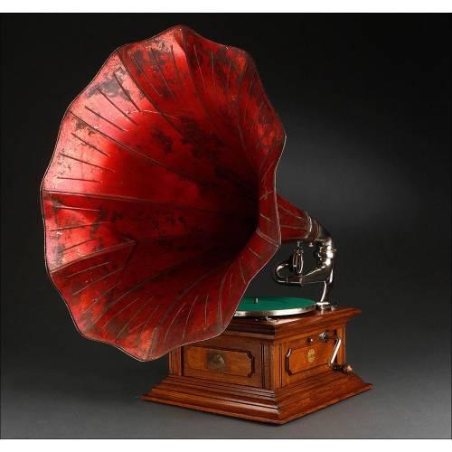Magnífico Gramófono de Trompeta His Master's Voice Fabricado Circa 1910. Excelente Funcionamiento