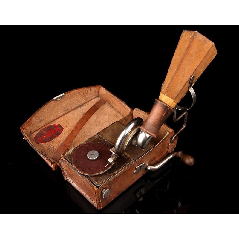 Gramófono de Bolsillo Gipsy del Año 1920. Pieza de Coleccionista, Rara y Original. Funcionando
