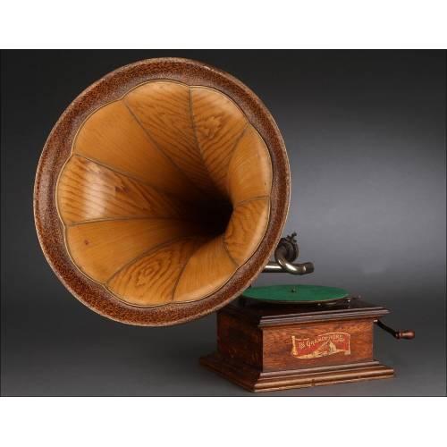 Espectacular Gramófono de Trompeta His Master's Voice (HMV), Circa 1910. Magnífico Funcionamiento