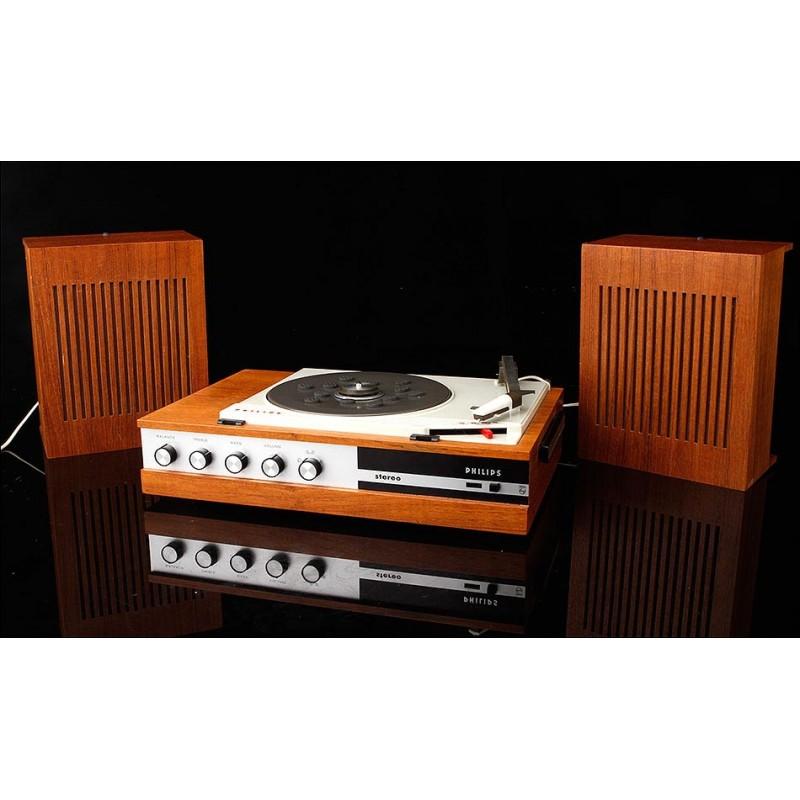 Tocadiscos de Madera Philips Original de los Años 60. En Muy Buen Estado y Funcionando Como Nuevo