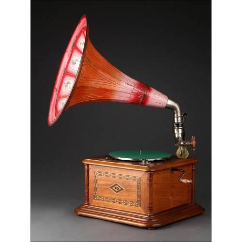 Antiguo Gramófono de Trompeta Alemán Fabricado en 1910. Original. En Funcionamiento