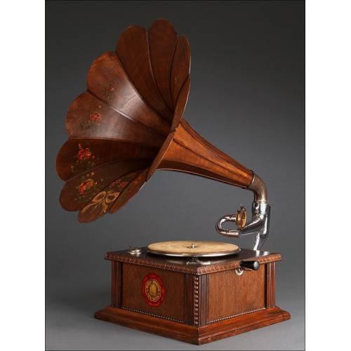 Espectacular Gramófono de Trompeta Polyphon del Año 1910. Restaurado y con Sonido Excepcional