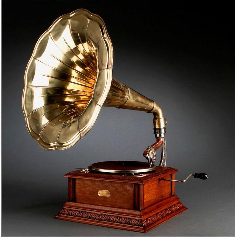 Precioso Gramófono de Trompeta Pathé de 1915. Restaurado y Funcionando. Trompeta Original