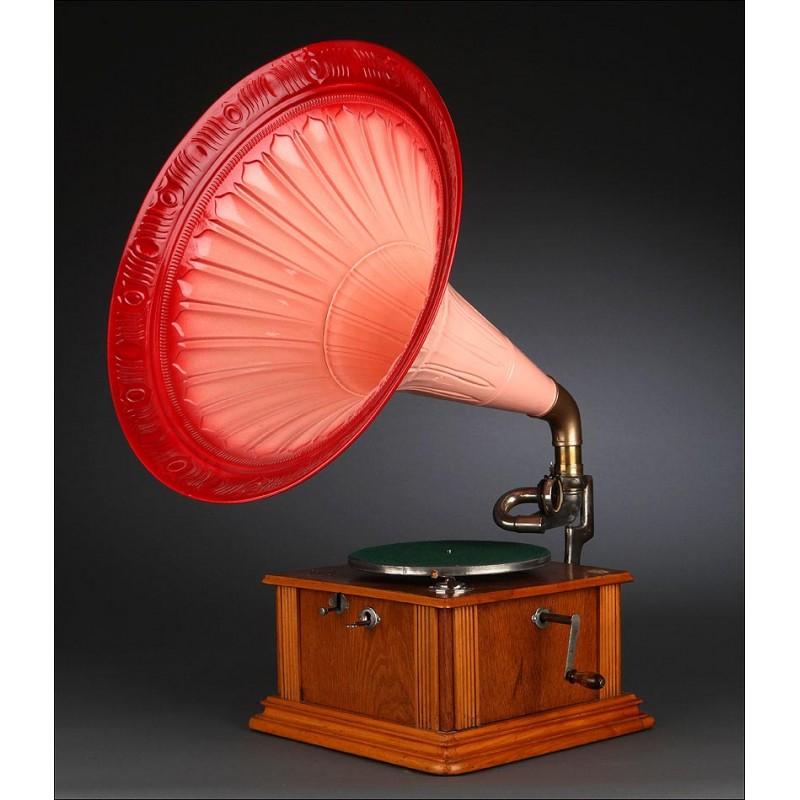 Espectacular Gramófono de Trompeta de 1904. Totalmente Restaurado. Funciona de Maravilla