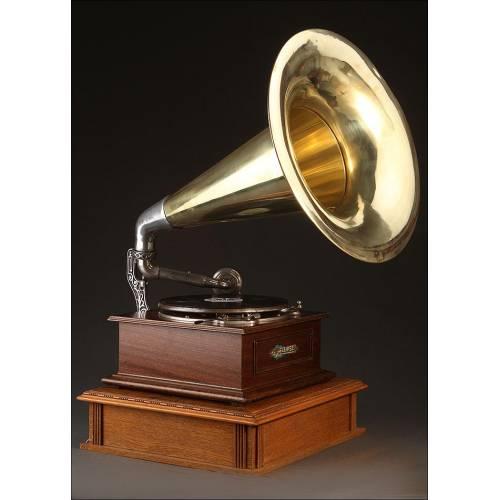 Impresionante Gramófono de Trompeta Eclipse. Gran Bretaña, 1915. Bien Conservado y Funcionando