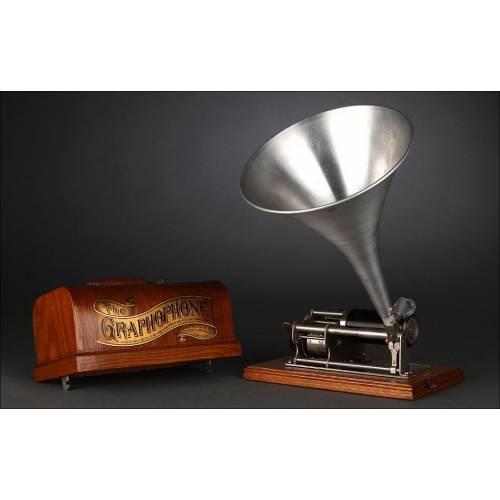 Precioso Fonógrafo Columbia Fabricado a Finales del Siglo XIX. Cubierta Original y en Funcionamiento
