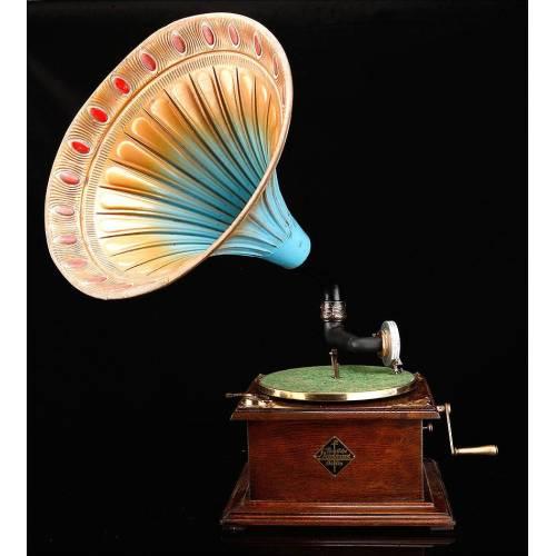 Gramófono de Trompeta Alemán de los Años 20. Marca Parlophone, Funcionando Perfectamente