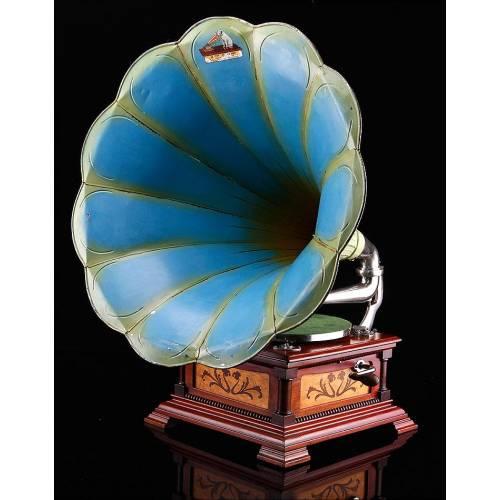 Bellísimo y Lujoso Gramófono de Trompeta Español La Voz de Su Amo. Barcelona, Ca. 1910