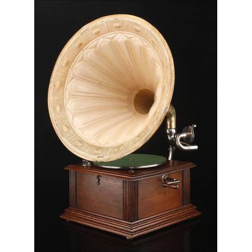 Antiguo Gramófono de Trompeta Thorens. Centro Europa, Circa 1910 .Funcionando bien