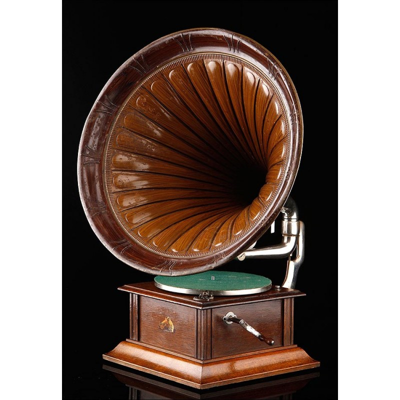 Magnífico Gramófono de Trompeta HMV en Excelente Estado. Gran Bretaña, 1905-10