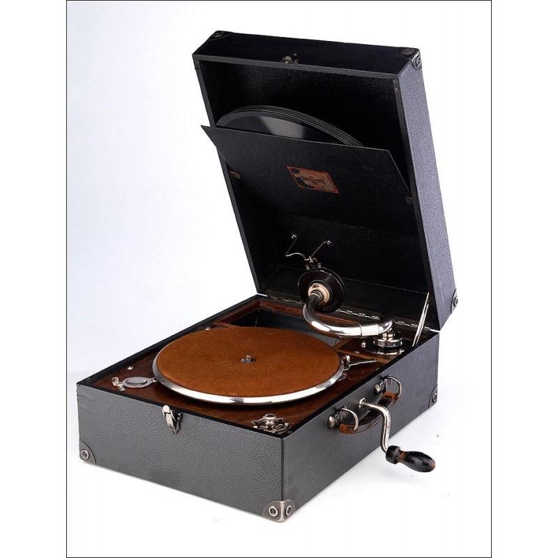 Antiguo Gramófono de Maleta Polydor Electrix. Funciona Muy Bien. Inglaterra, Años 30