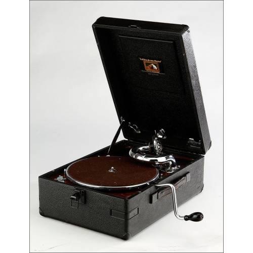 Gramófono de Maleta La Voz de Su Amo en Perfecto Funcionamiento. Inglaterra, Años 30
