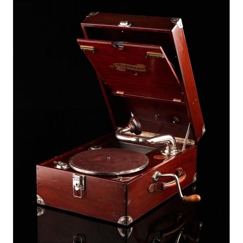 Hermoso Gramófono de Maleta Primaphone en Estado de Funcionamiento. Suiza, Ca. 1929