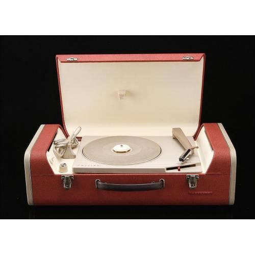 Tocadiscos de Válvulas Philips para Todos los Formatos de Discos. Años 60. Funciona Muy Bien