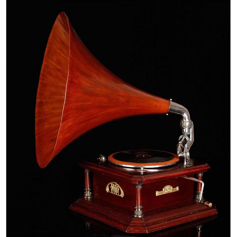 Espectacular Gran Gramófono de Trompeta Thorens. Suiza, 1910. Funcionando