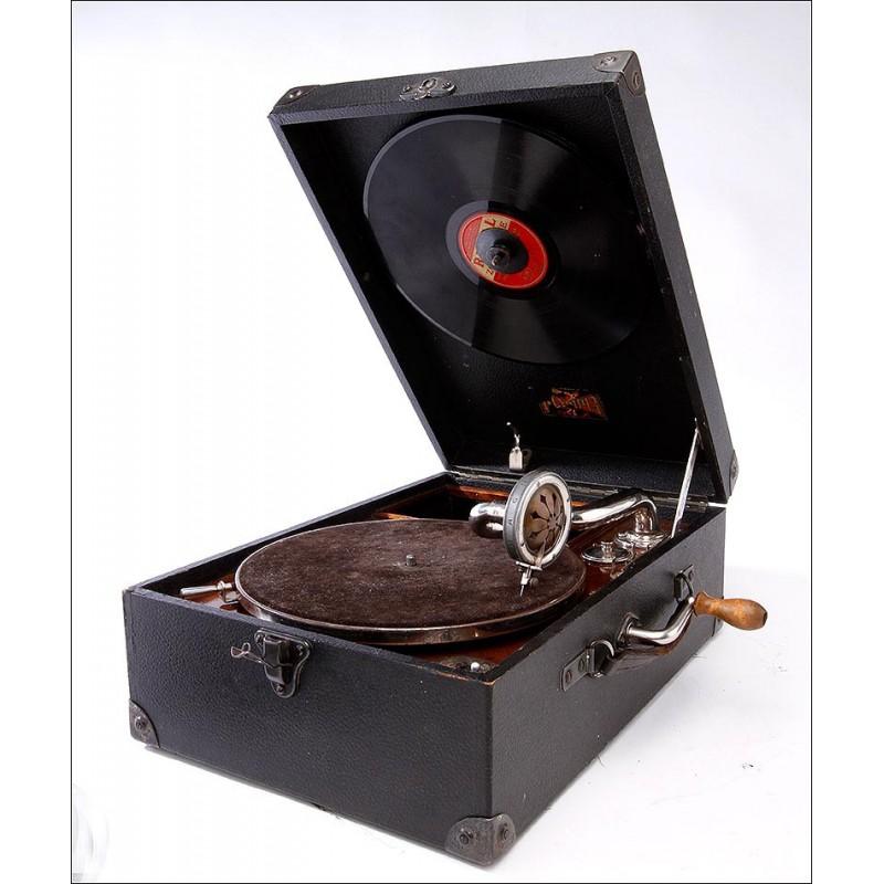 Elegante Gramófono de Maleta Alemán Olympia en Buen Estado. Años 30. Funcionando
