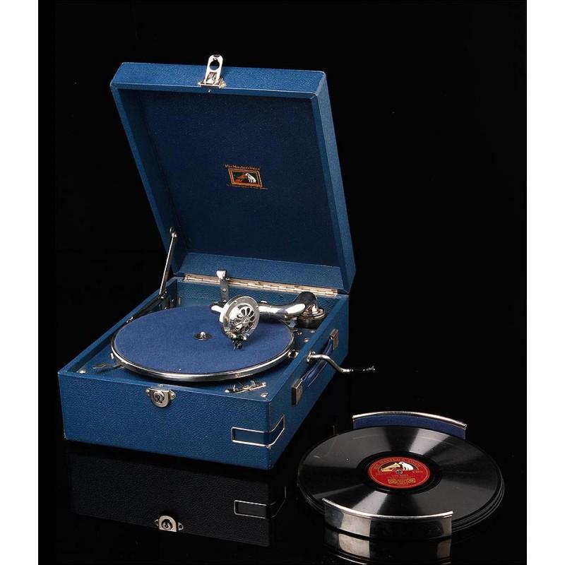 Precioso Gramófono de Maleta HMV Fabricado en Inglaterra en 1934. Con Revestimiento Azul. Funcionando