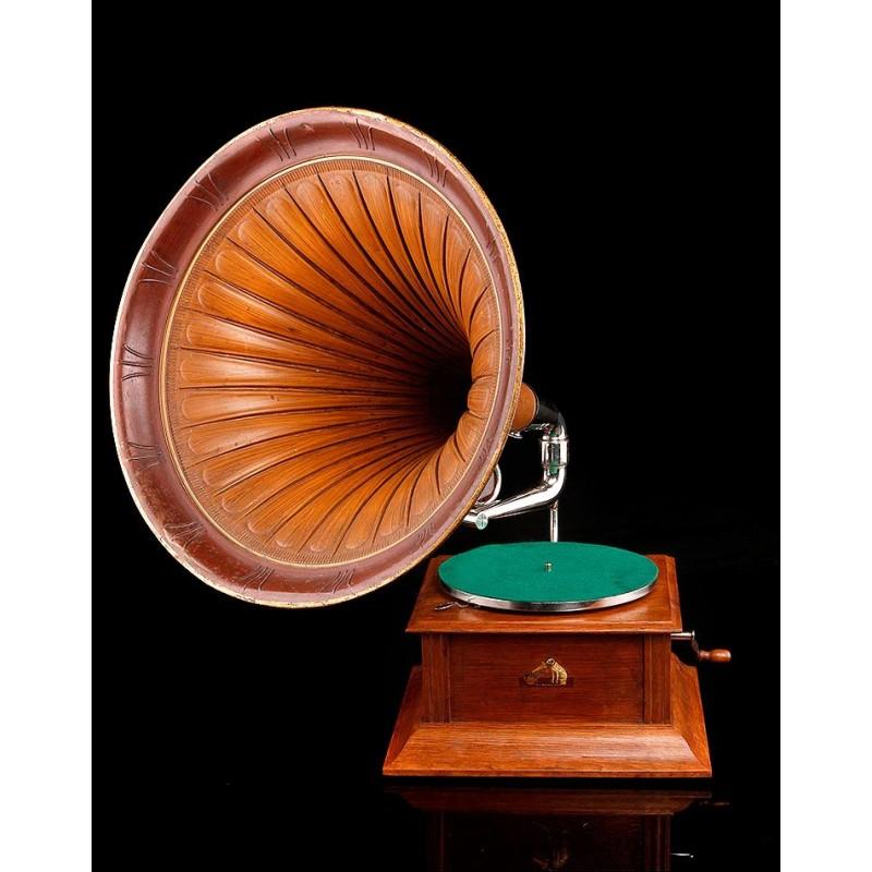 Gramófono de TrompetaLa Voz de Su Amo Original del Año 1910. En Excelente Estado y Funcionando
