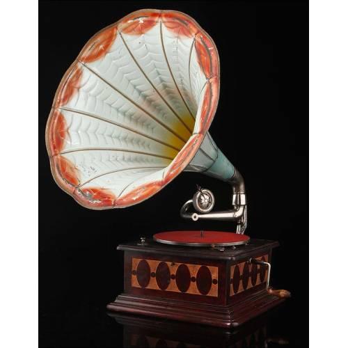Gramófono de Trompeta de Principios del Siglo XX. En Perfecto Estado de Funcionamiento