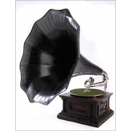 Antiguo Gramófono de Trompeta La Voz de Su Amo en Magnífico Estado. 1904. Funciona de Maravilla