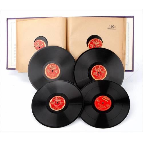 Álbum con 12 Discos de Gramófono. Curso de Inglés CCC. Álbum Original.