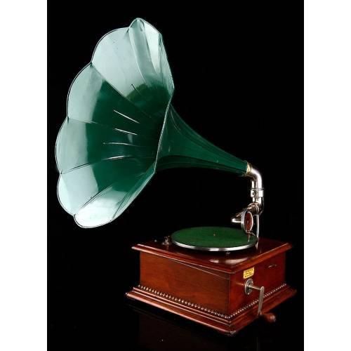Magnífico Gramófono de Trompeta Phrynis Funcionando Perfectamente. Suiza, Ca. 1915