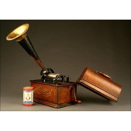 Fonógrafo Edison Standard para Cilindros de 2 y 4 Minutos. Circa 1900. Cuerno Original.