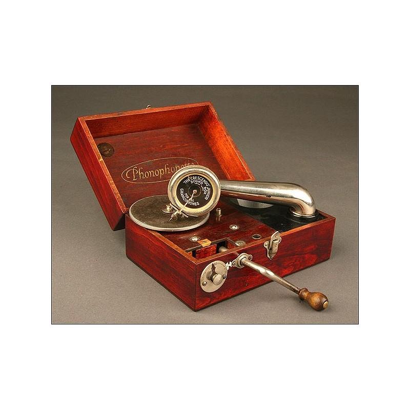 Original Gramófono de viaje Phonophonette,1925.