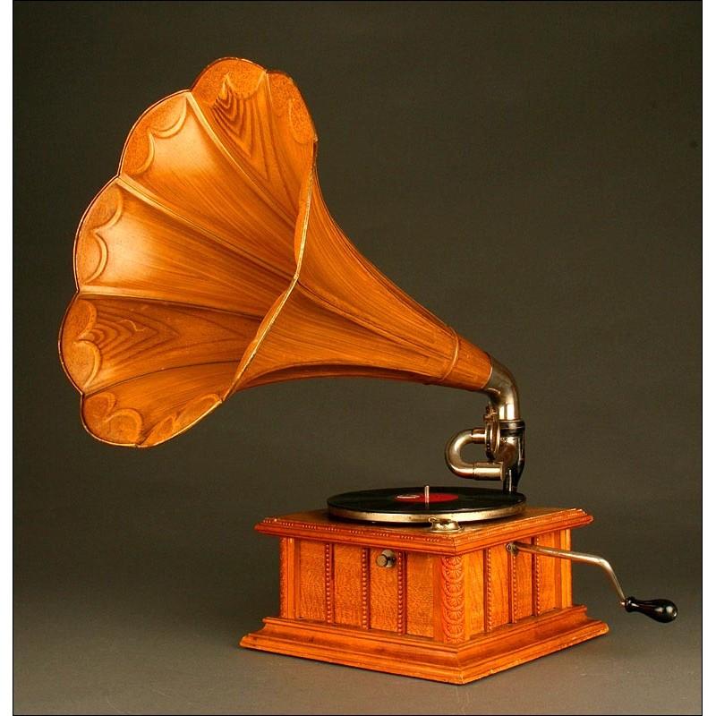 Raro Gramófono Alemán Marca Parlophone, Año 1910. Con Bocina Imitando Madera.