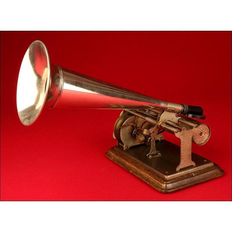 Precioso Fonógrafo Columbia Modelo Q Mignon de 1898. Funcionando. Para cilindros de 2 minutos.