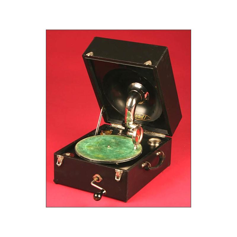 Precioso Gramófono de Maleta Marca Odeon Modelo Carlet I. Años 20.
