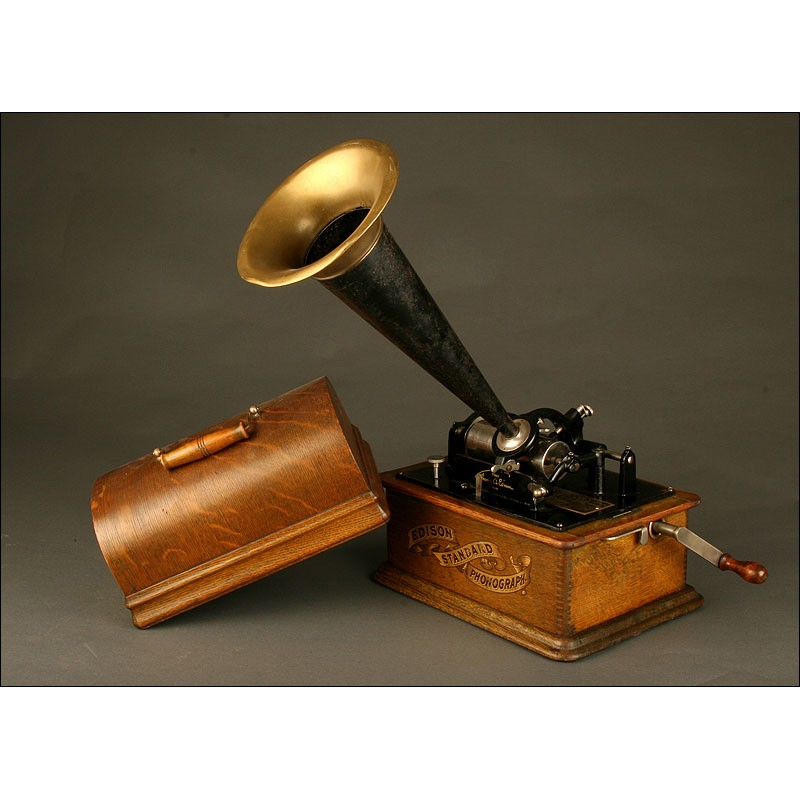 Antiguo Fonógrafo Edison Standard, Ca. 1900. Funciona Perfectamente. Completamente Original